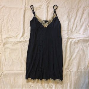 Slate grey nightgown with lace trim